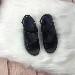 Wolky Black Jewel Leather Sandal Size 37 US 5.5-6